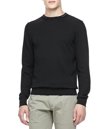 Knit Crewneck Sweater, Black