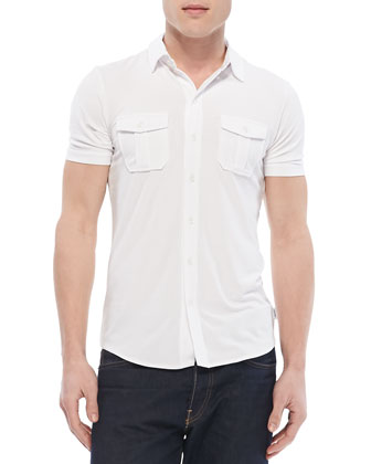 Military Button-Down Shirt, White