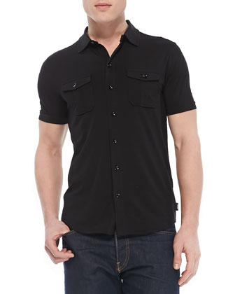 Military Button-Down Shirt, Black