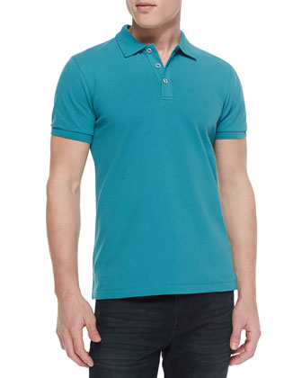 Short-Sleeve Pique Polo, Teal