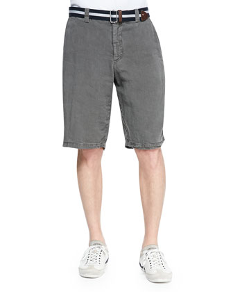 Linen Shorts, Med Gray