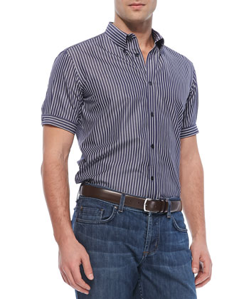 Short-Sleeve Striped Button-Down Shirt, Navy