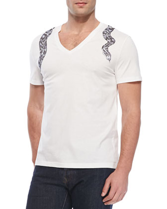 Snake-Harness V-Neck Tee, White