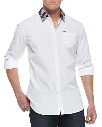 Camo-Print Collar Shirt, White
