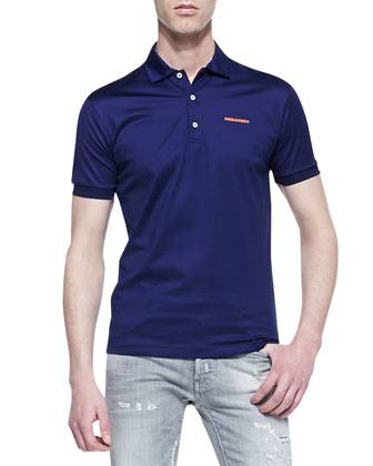 Smooth-Knit Logo Polo, Navy