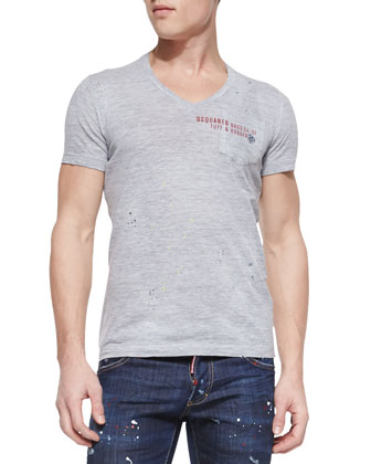 V-Neck Logo Pocket Tee, Gray