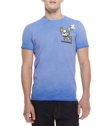 Short-Sleeve Leopard-Bulldog Tee, Blue