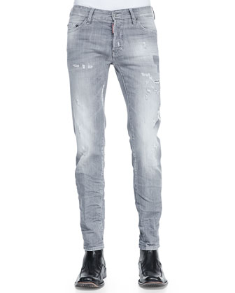 Dean Distressed Jeans, Med Gray