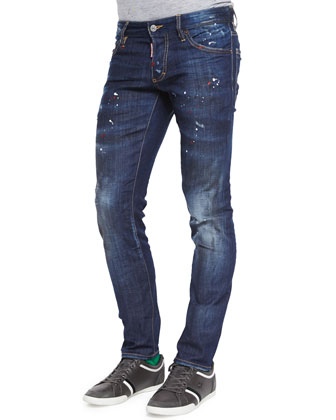 Distressed Slim Leg Jeans