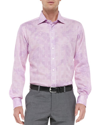 Glen Plaid & Floral Shirt, Medium Pink