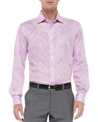Glen Plaid & Floral Shirt, Medium Pink