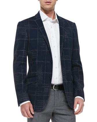 Large-Check Jersey Jacket, Navy