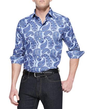 Large-Paisley-Print Sport Shirt, Blue