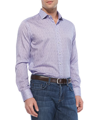 Small-Paisley-Print Sport Shirt, Light Purple