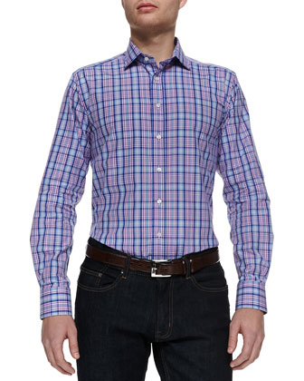 Plaid Button-Down Shirt, Pink/Blue