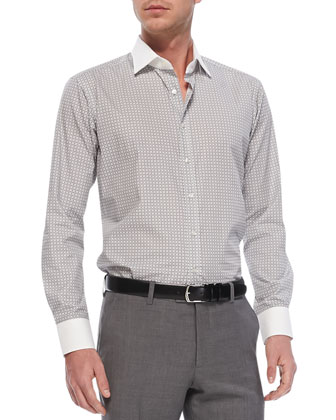 Diamond-Print Sport Shirt, Dark Gray