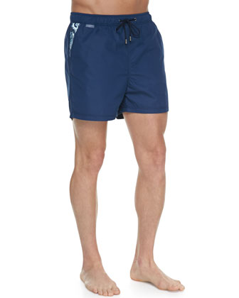 Paisley-Pocket Swim Trunks, Navy