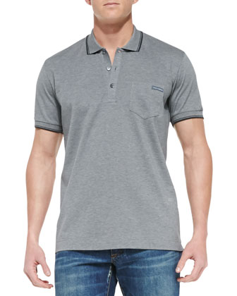 Stripe-Detail Jersey Polo, Medium Gray