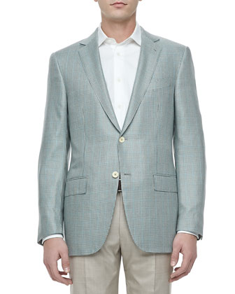 Two-Button Jacket, Gray Houndstooth