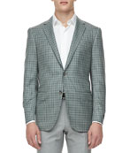 Check Two-Button Sport Coat, Green/Navy