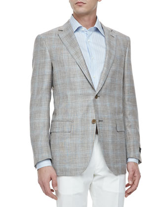 Two-Button Blazer, Tan/Blue Plaid