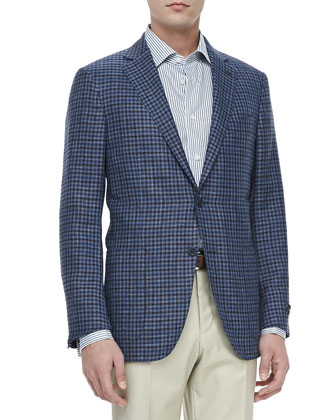 Check Two-Button Blazer, Blue
