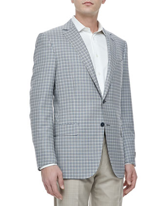 Two-Button Jacket, Blue/White Check
