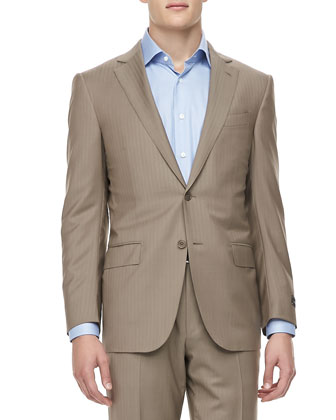 Tonal-Herringbone Two-Piece Suit