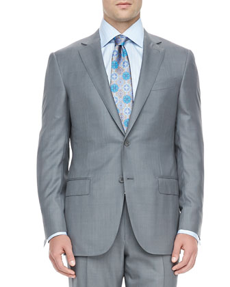 Windowpane-Check Trofeo 600 Suit, Gray/Blue