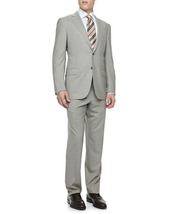 Houndstooth Two-Piece Suit, Cream/Brown