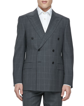 Double-Breasted Windowpane Suit, Gray