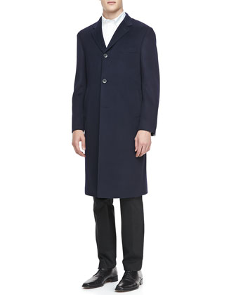 Cashmere Three-Button Top Coat, Navy