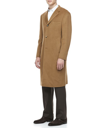 Cashmere Three-Button Top Coat, Camel