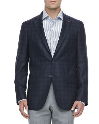 Tonal-Plaid Two-Button Sport Coat, Navy