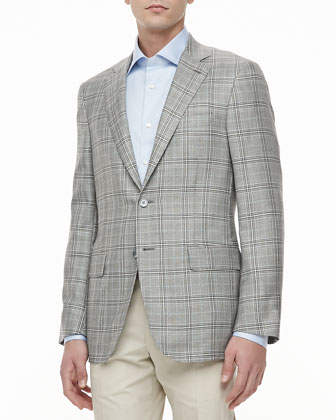 Plaid Two-Button Jacket, Gray