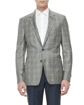 Plaid Two-Button Wool Blazer, Green