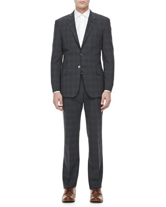 Plaid with Contrasting-Pane Wool Suit, Charcoal