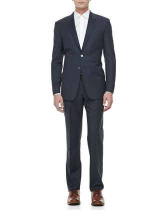 Mini-Check Wool Suit, Navy