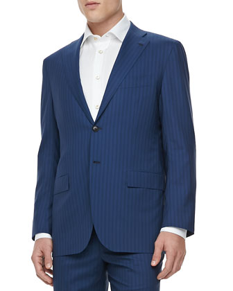 Tonal Stripe Two-Button Jacket, Blue