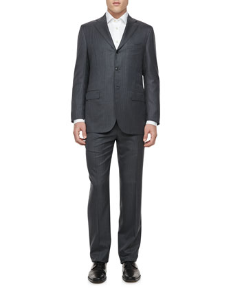 Pinstriped Two-Button Jacket, Gray/Blue