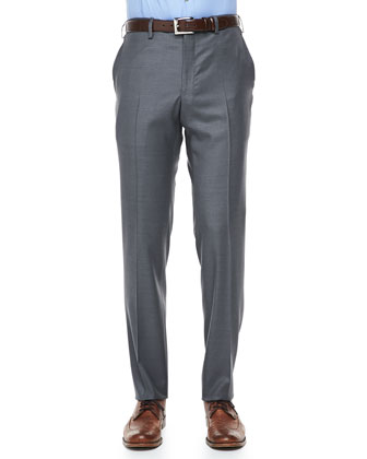 Wool-Twill Dress Pants, Gray