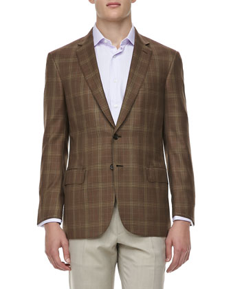 Plaid Wool/Silk Two-Button Sport Coat, Brown