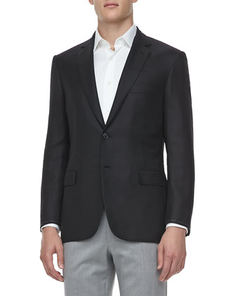 Textured Wool/Silk Sport Coat, Black