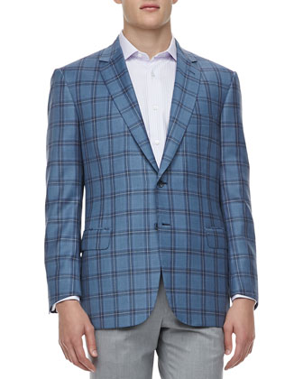 Windowpane-Check Sport Coat, Light Blue/Lavender