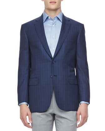 Tonal-Plaid Sport Coat, Navy