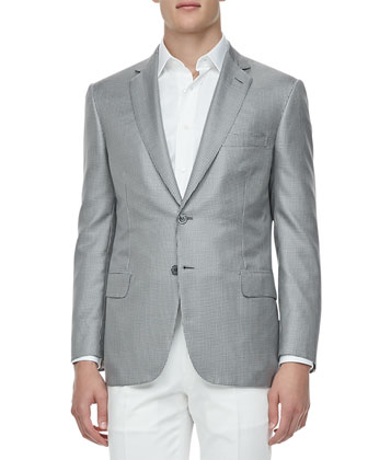 Checked Silk Sport Coat, Gray