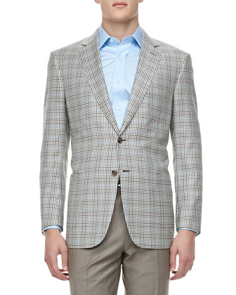 Gingham-Check Wool Blazer, Brown