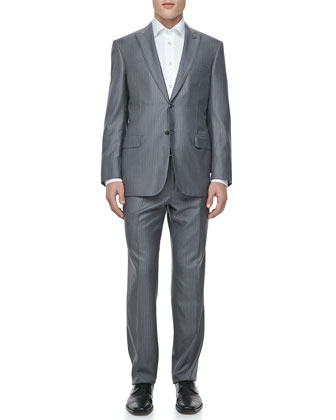 Tonal-Striped Two-Piece Suit, Gray