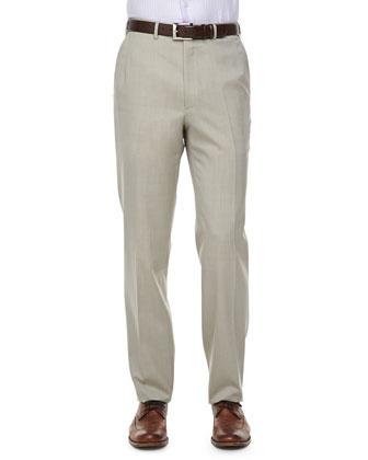 Solid Wool/Silk Dress Pants, Tan