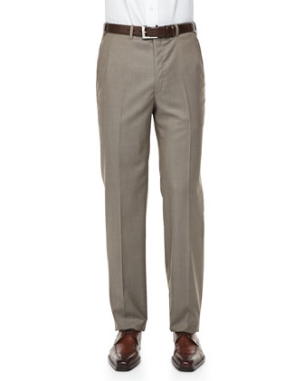 Solid Wool/Silk Dress Pants, Light Brown